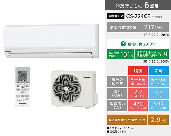 Panasonic製インバーター冷暖房除湿タイプ ルームエアコン CS-224CF